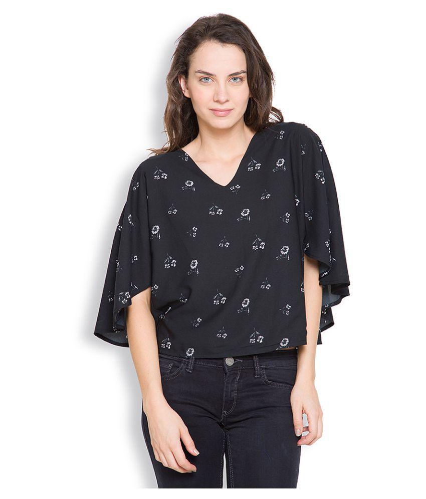 Tokyo Talkies Black Polyester Crop Tops