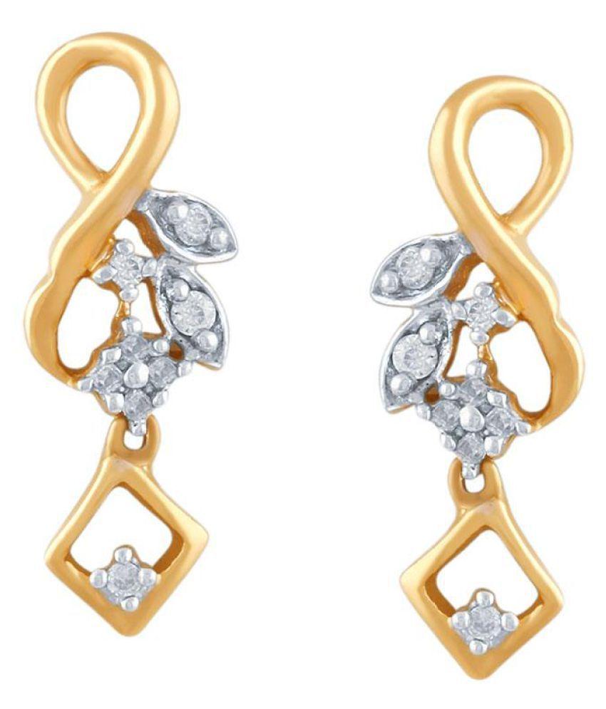 Shuddhi 18k BIS Hallmarked Yellow Gold Diamond Drop Earrings