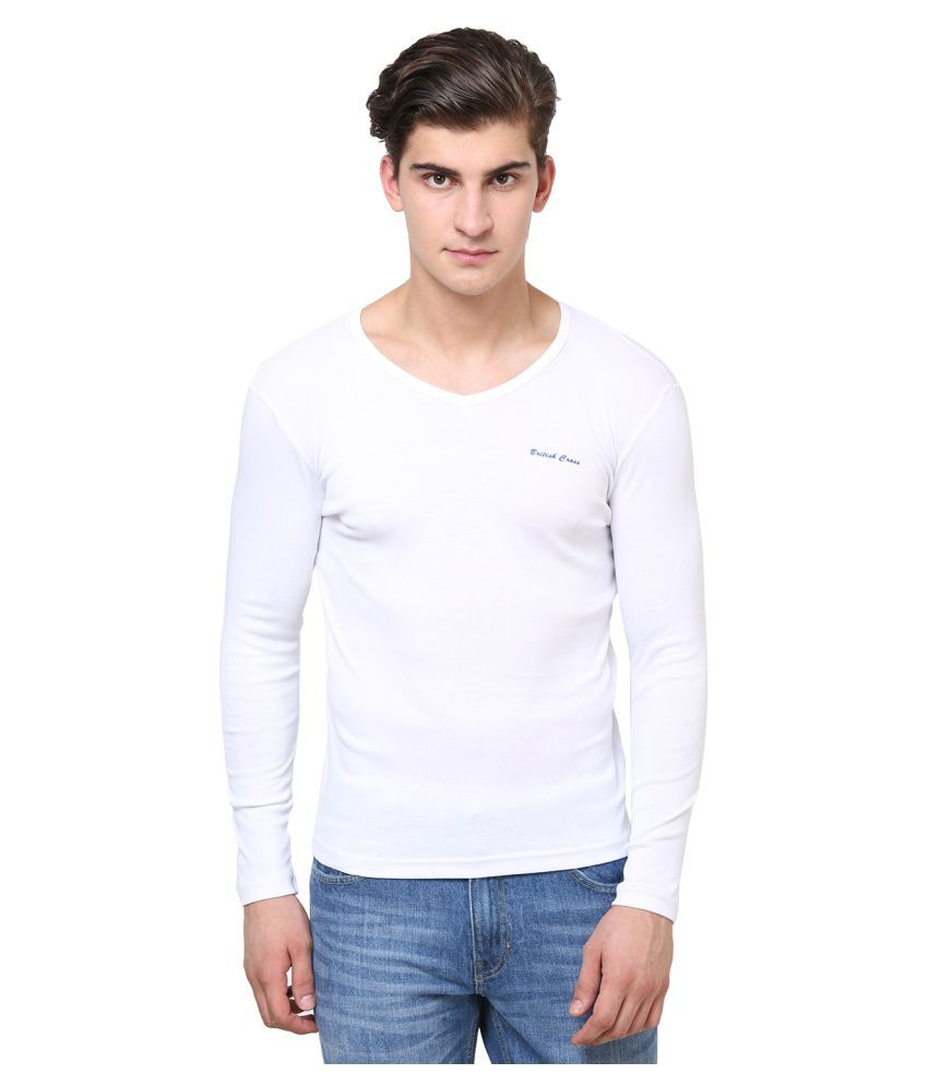 British Cross White Round T-Shirt
