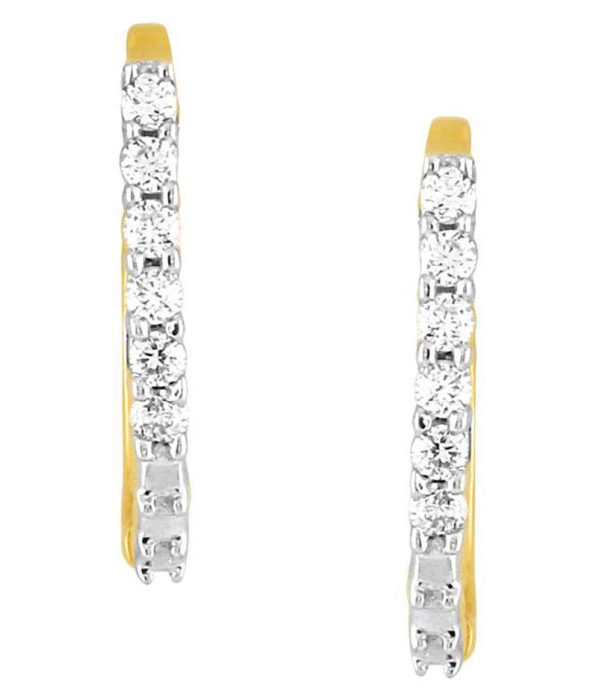 Gili 18k BIS Hallmarked Yellow Gold Diamond Hoop