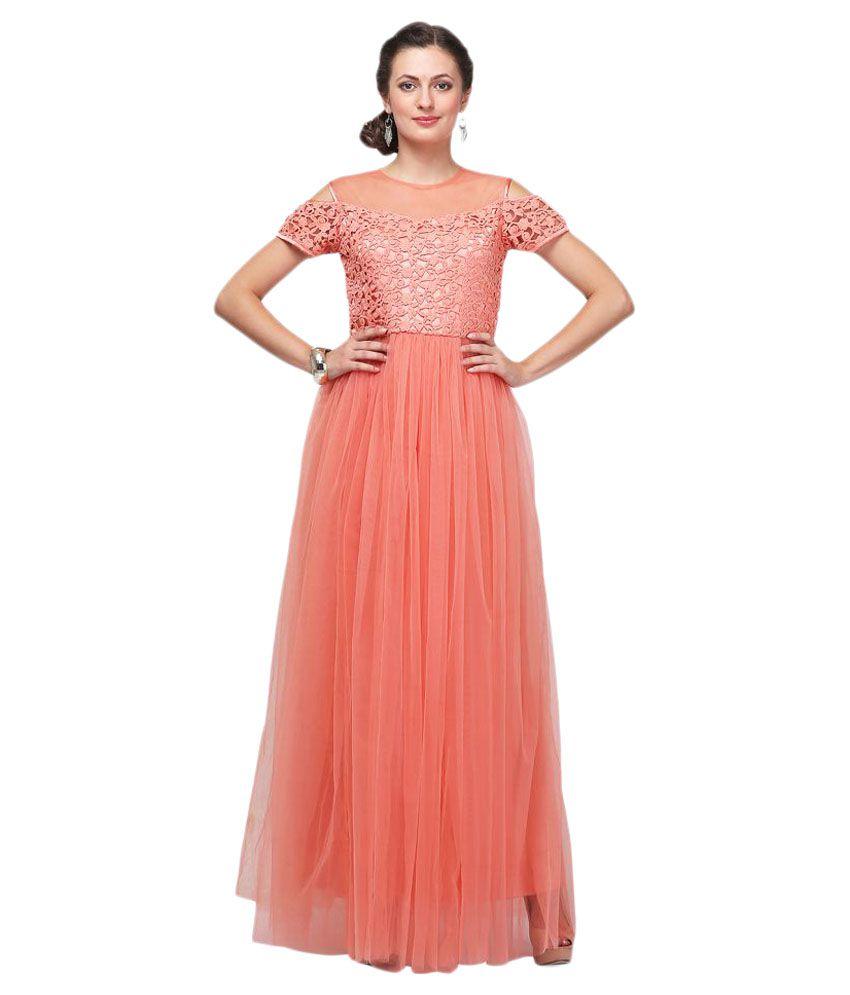 Eavan Peach Net Gown