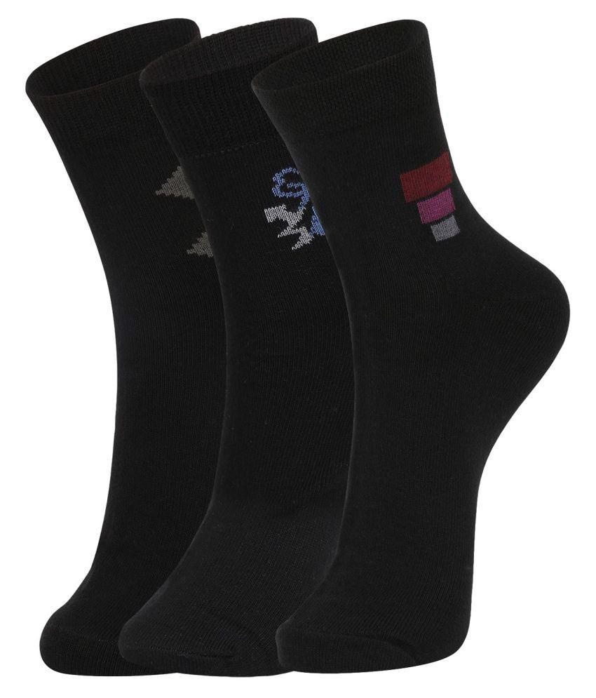 Dukk Black Casual Ankle Length Socks