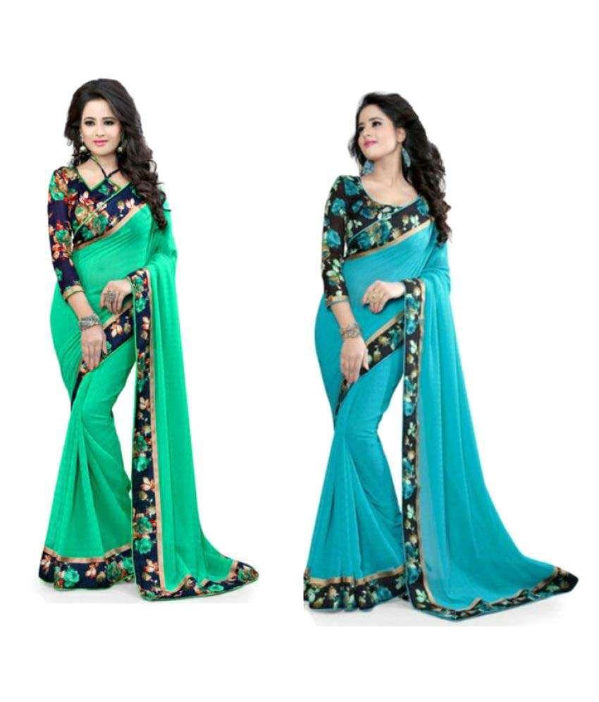 Flute Fashion Multicoloured Cotton Blend Saree Combos