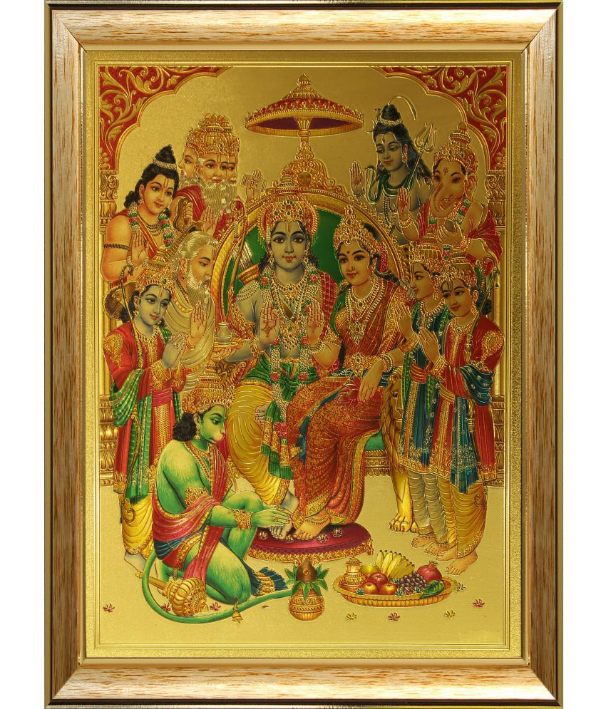 SAF Ram Darbar Wood Religious Paintings With Frame Single Piece