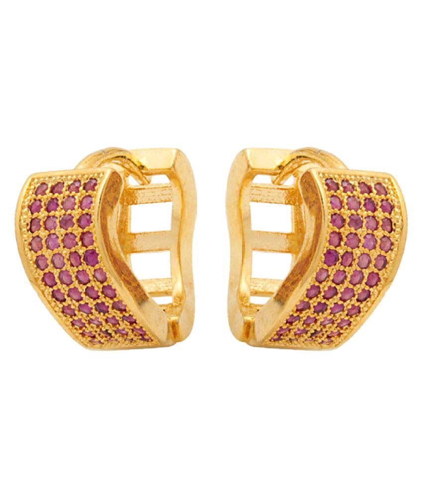 Voylla Red Golden Earrings