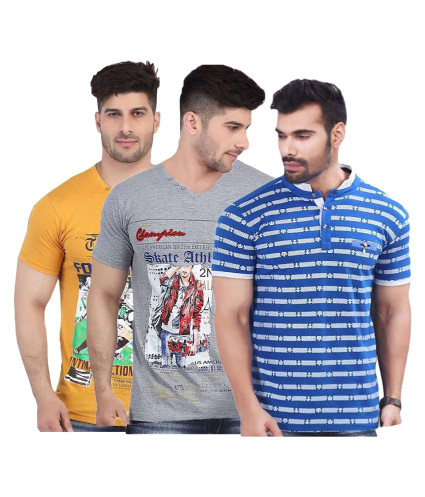 V Plus 9 Multi V-Neck T-Shirt Pack of 3
