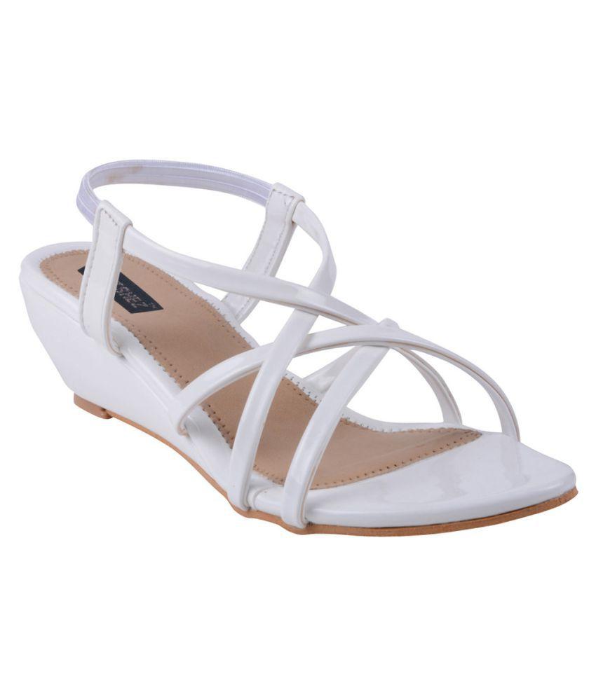 Footshez White Wedges Heels