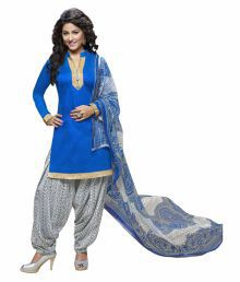 The Fashion Outlets Blue Cotton Dress Material - 630339028772