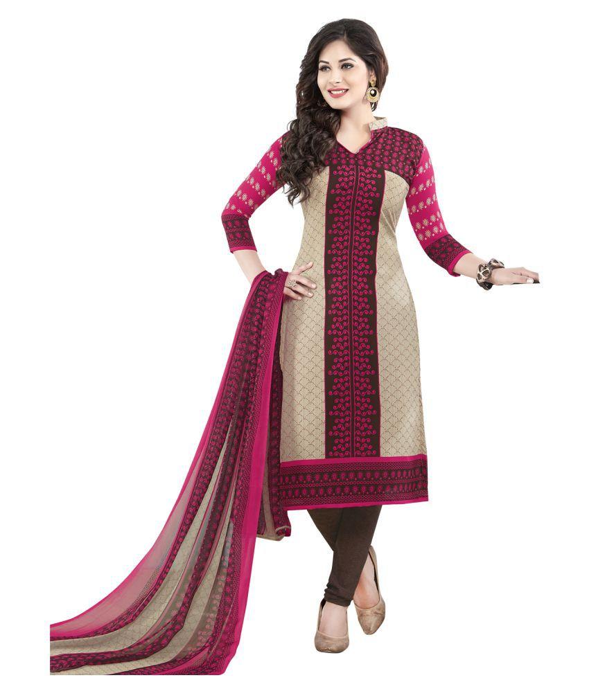 Drapes Multicoloured Crepe Dress Material