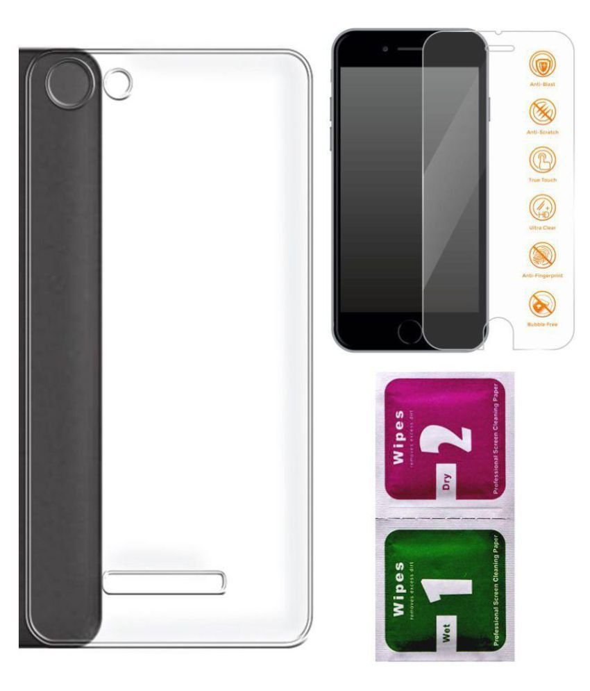 finest selection 63004 be4d6 Micromax Canvas Spark 2 Plus Q350 Back Cover by Anwesha's - Transparent  with Tempered Glass