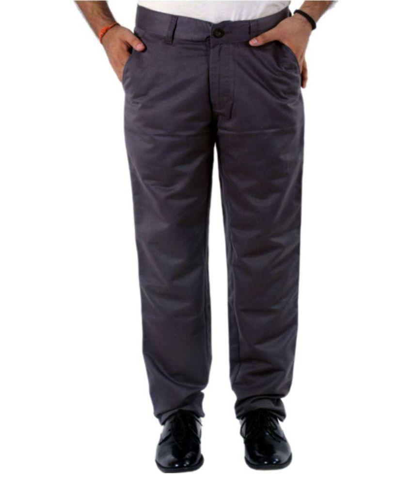 Benzora Grey Slim -Fit Flat Trousers