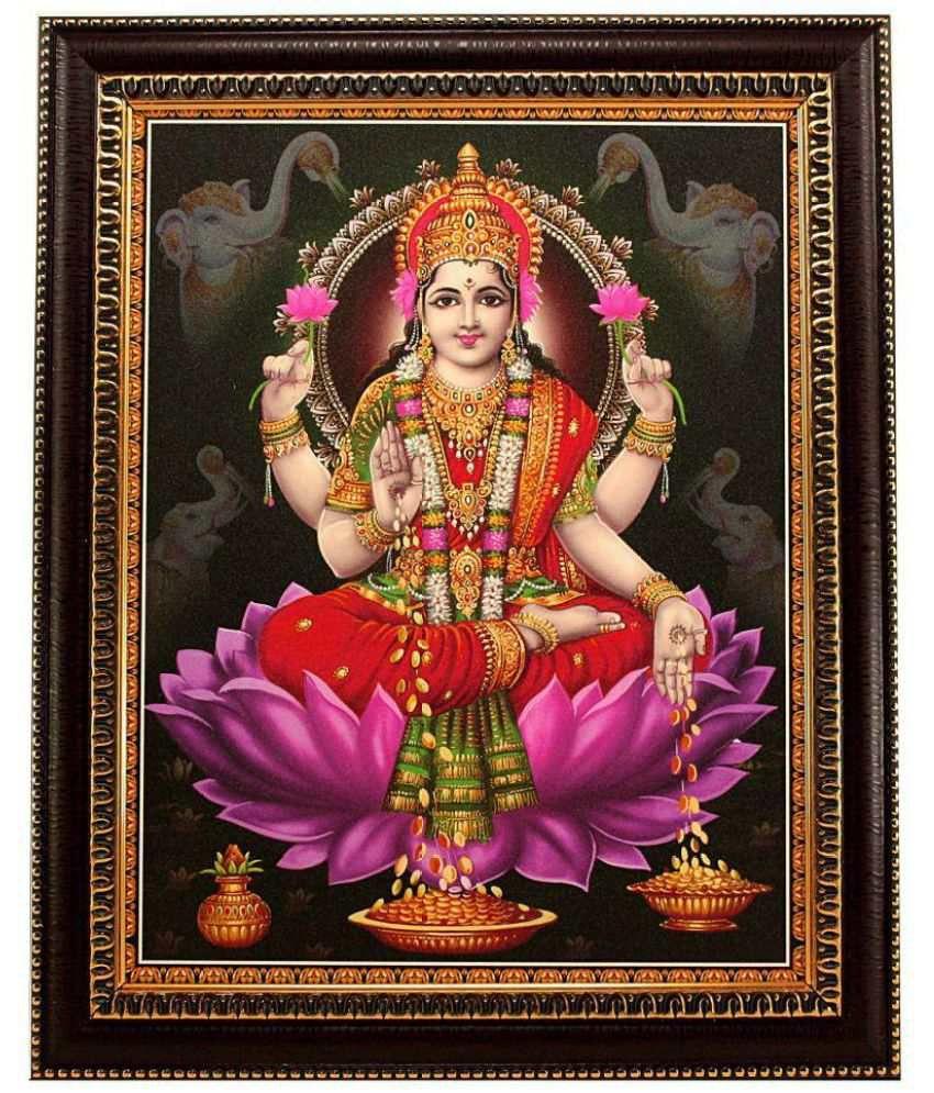 Indianara MDF Laxmi Religious Paintings With Frame Single Piece