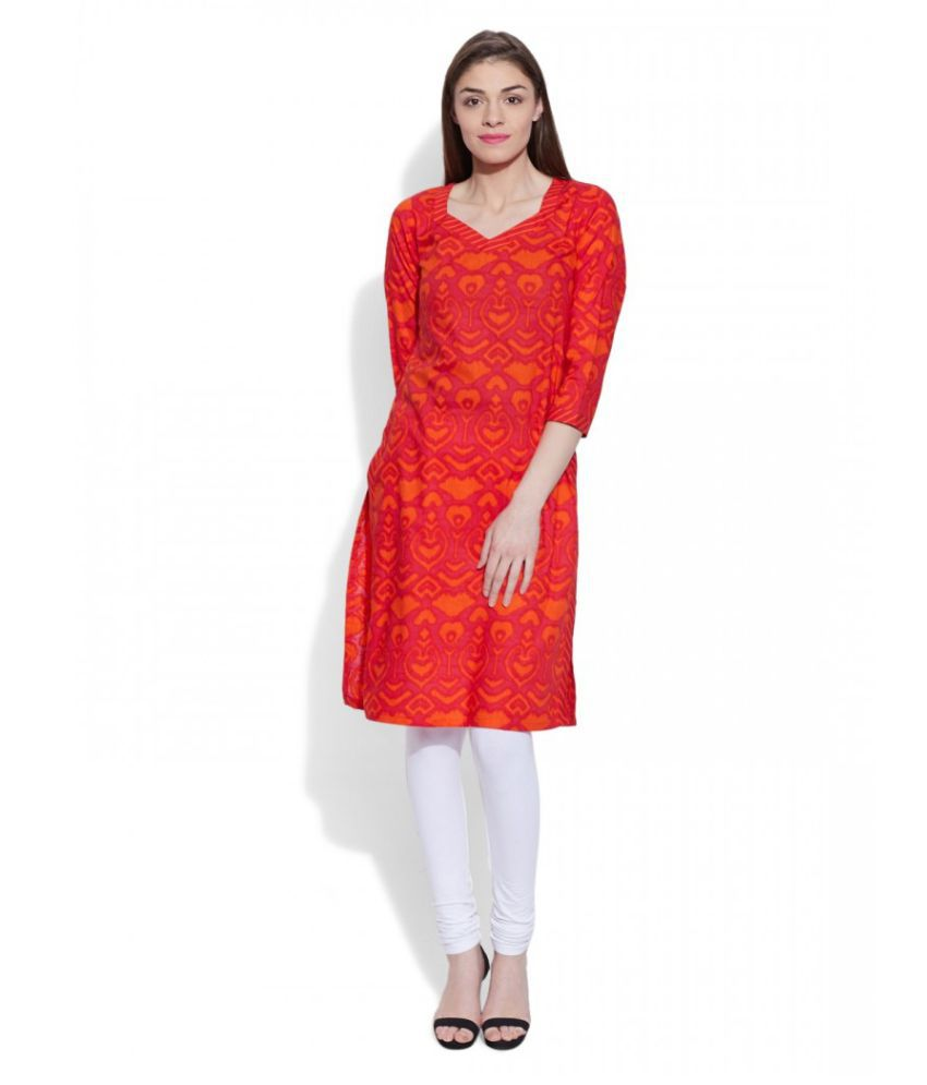 Very Me Red Cotton Straight Kurti