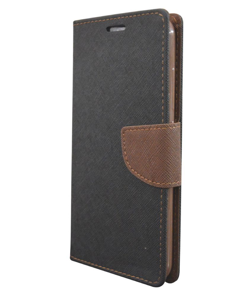 Micromax Canvas Spark Q380 Flip Cover by Coverage - Black