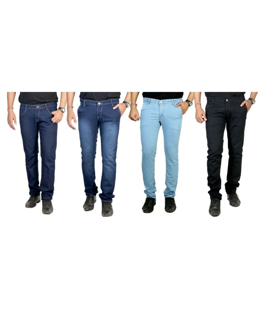 Atlast Multicolored Slim Solid Jeans - Pack of 4