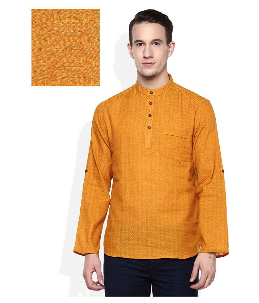 9d7be63e548 Indus Route by Pantaloons Yellow Cotton Kurta - Buy Indus Route by  Pantaloons Yellow Cotton Kurta Online at Low Price in India - Snapdeal