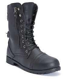Truffle Collection Black Ankle Length Combat Boots
