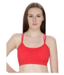 Pretty Girl Red Cotton Lycra Sports Bras - 625138285706