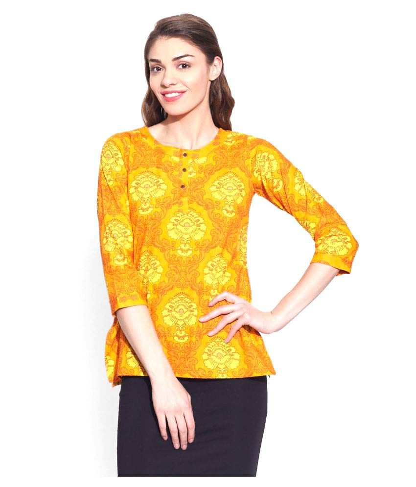 Very Me Yellow Cotton Straight Kurti