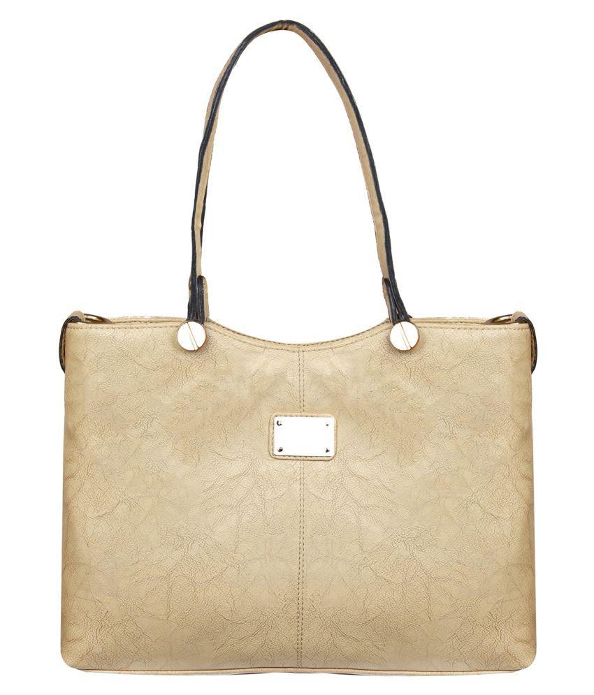 Louise Belgium Beige Artificial Leather Satchel Bag