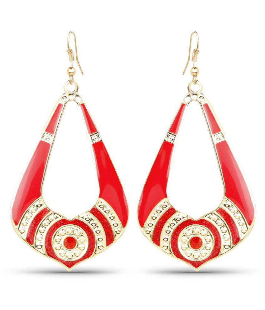 Johareez Red Hanging Earrings