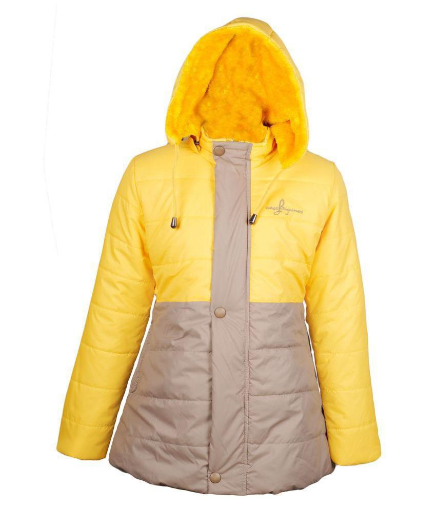Naughty Ninos Girls Yellow and Beige filled Jacket