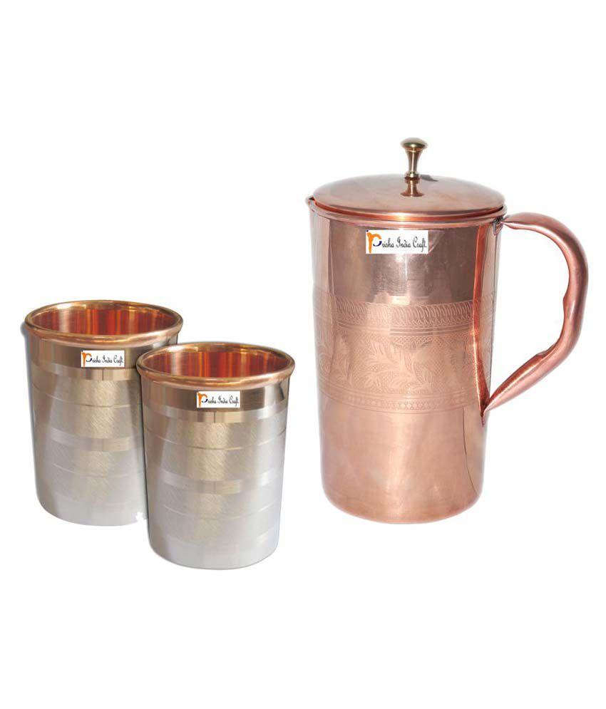 Prisha India Craft Copper Jug ( Handmade Jug 1600 ML / 54.10 oz ) with Two Glass Drinkware Set of Jug and Glass
