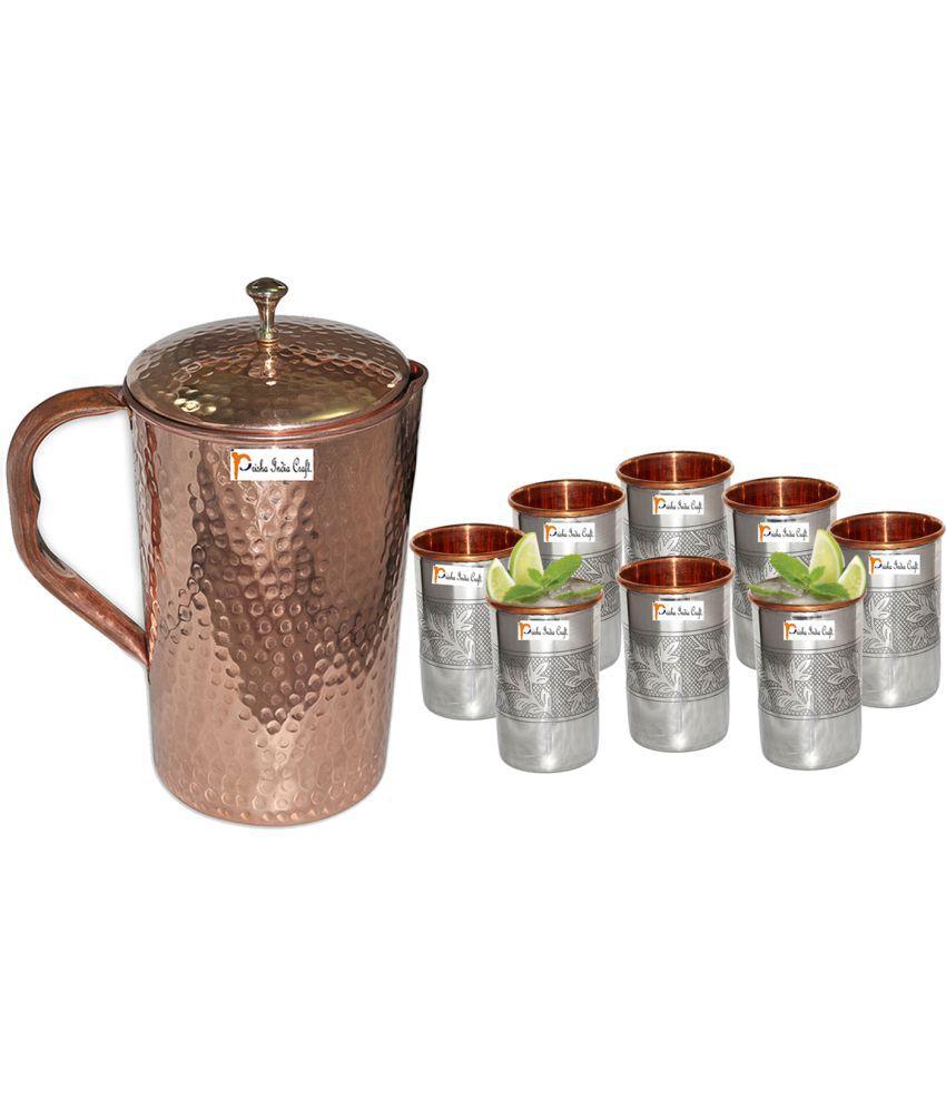 Prisha India Craft Copper Jug  ( Hammered Jug 1650 ML / 55.80 oz ) with Eight (8) Glass Drinkware Set of Jug and Glass