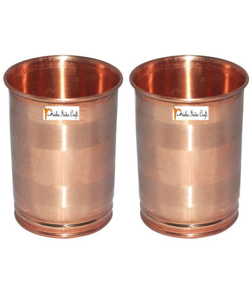 Set of 2   Prisha India Craft ® Drinking Copper Glass Tumbler Handmade Water Glasses   Traveller #039;s Copper Mug   Copper Cup