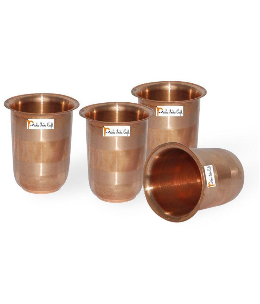 Set of 4   Prisha India Craft ®Drinking Copper Glass Tumbler Handmade Water Glasses   Copper Cup