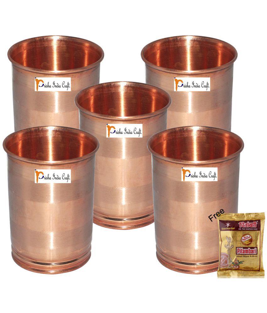 Set of 5   Prisha India Craft ® Drinking Copper Glass Tumbler Handmade Water Glasses   Traveller #039;s Copper Mug   Copper Cup
