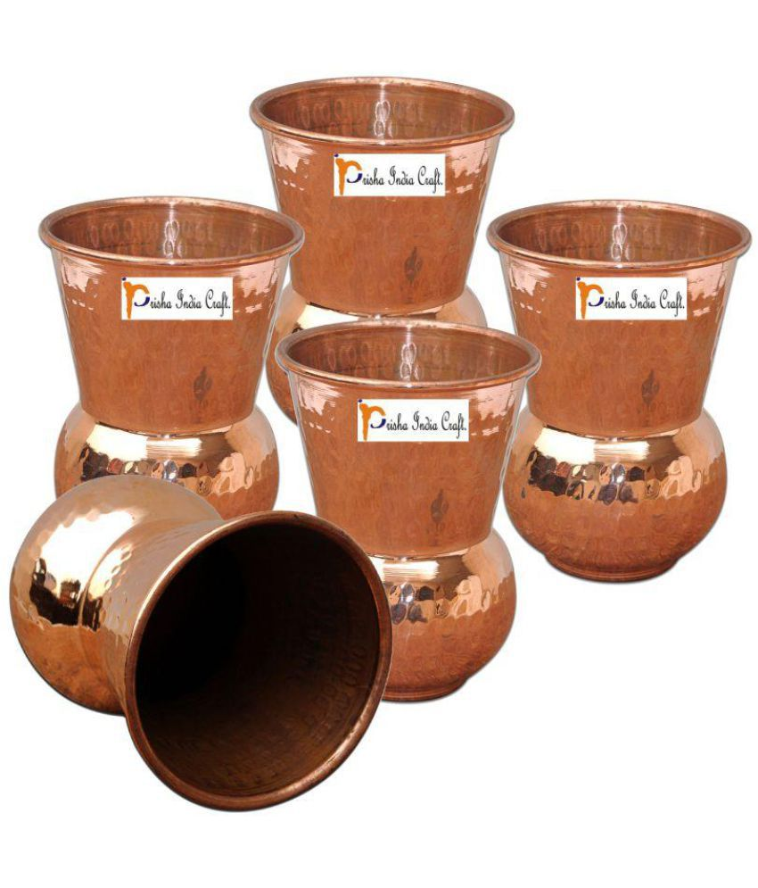 Set of 5   Prisha India Craft ®Copper Muglai Matka Glass Hammered Style Drinkware Tumbler Handmade Copper Cups