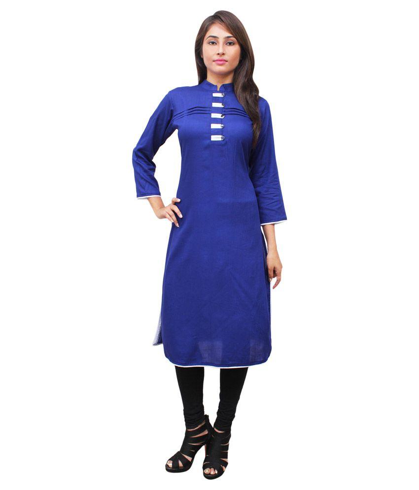 Harshaya G Blue Rayon A-Line Kurti