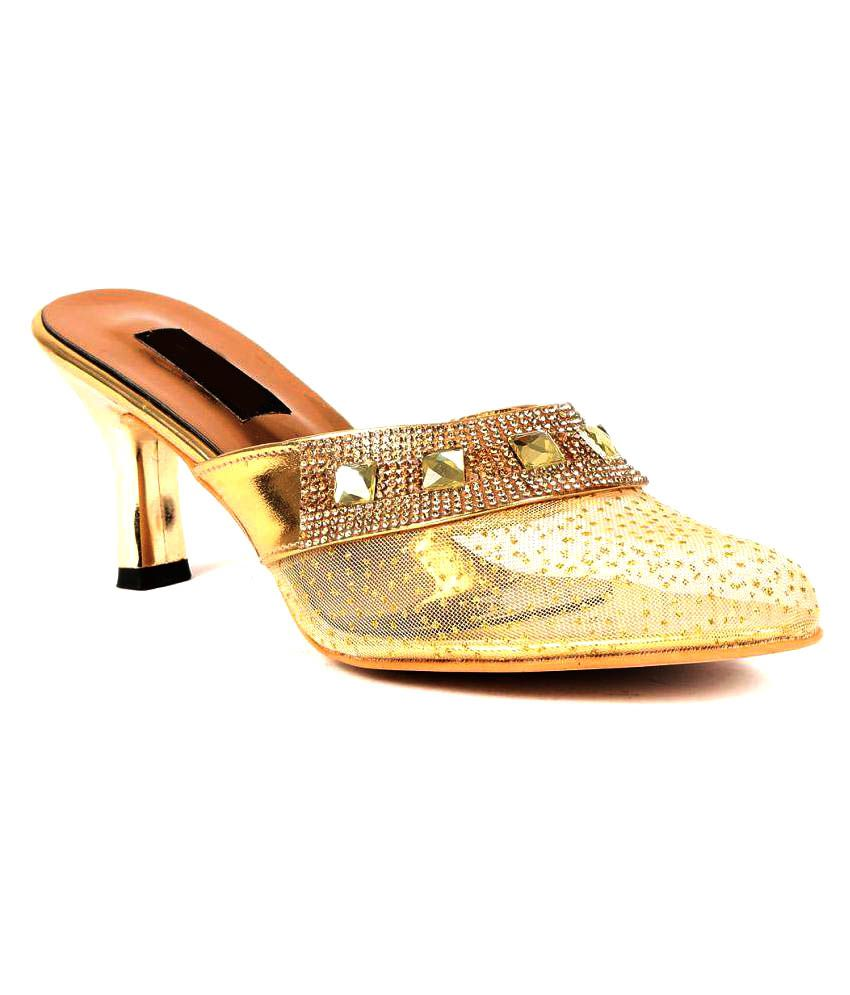 Ka Fashion Gold Kitten Heels