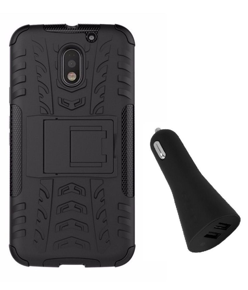 Moto E3 Case With Stand by YGS - Black