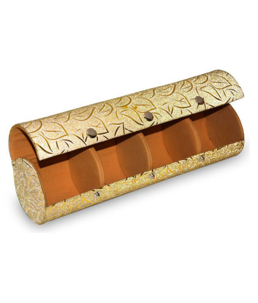 Vsquare Golden Wood Jewellry Box