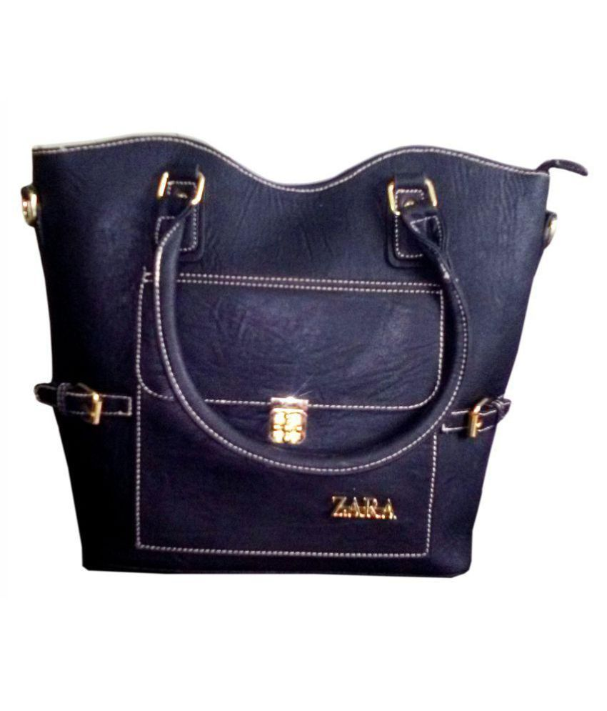 de1d6ebb5 Zara Creation Black Faux Leather Tote Bag - Buy Zara Creation Black Faux  Leather Tote Bag Online at Best Prices in India on Snapdeal