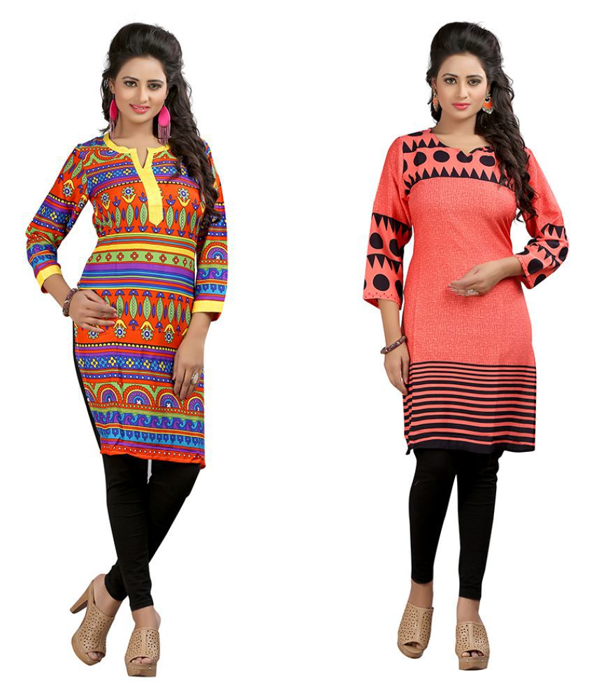 Janasya Multicoloured Crepe Straight Kurti