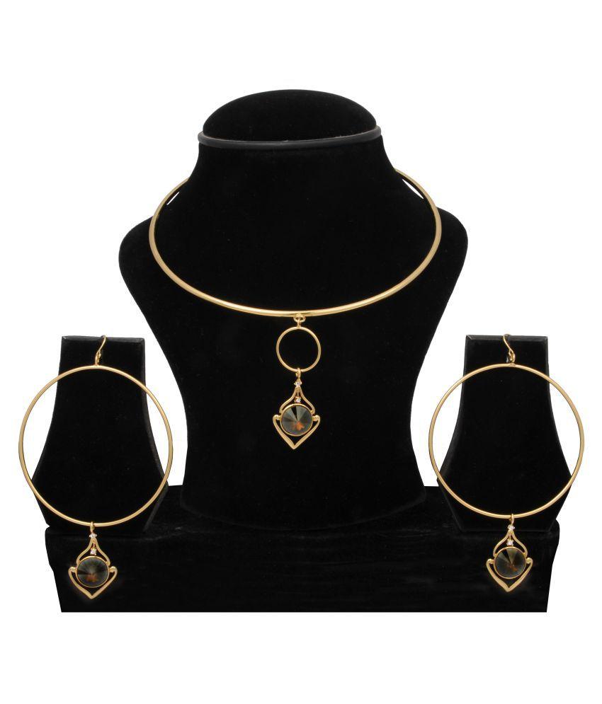 WOAP+ Golden Alloy Necklace set with Bracelet