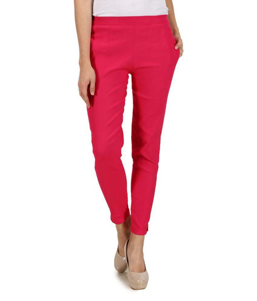 Kaaya Red Cotton Lycra Jeggings
