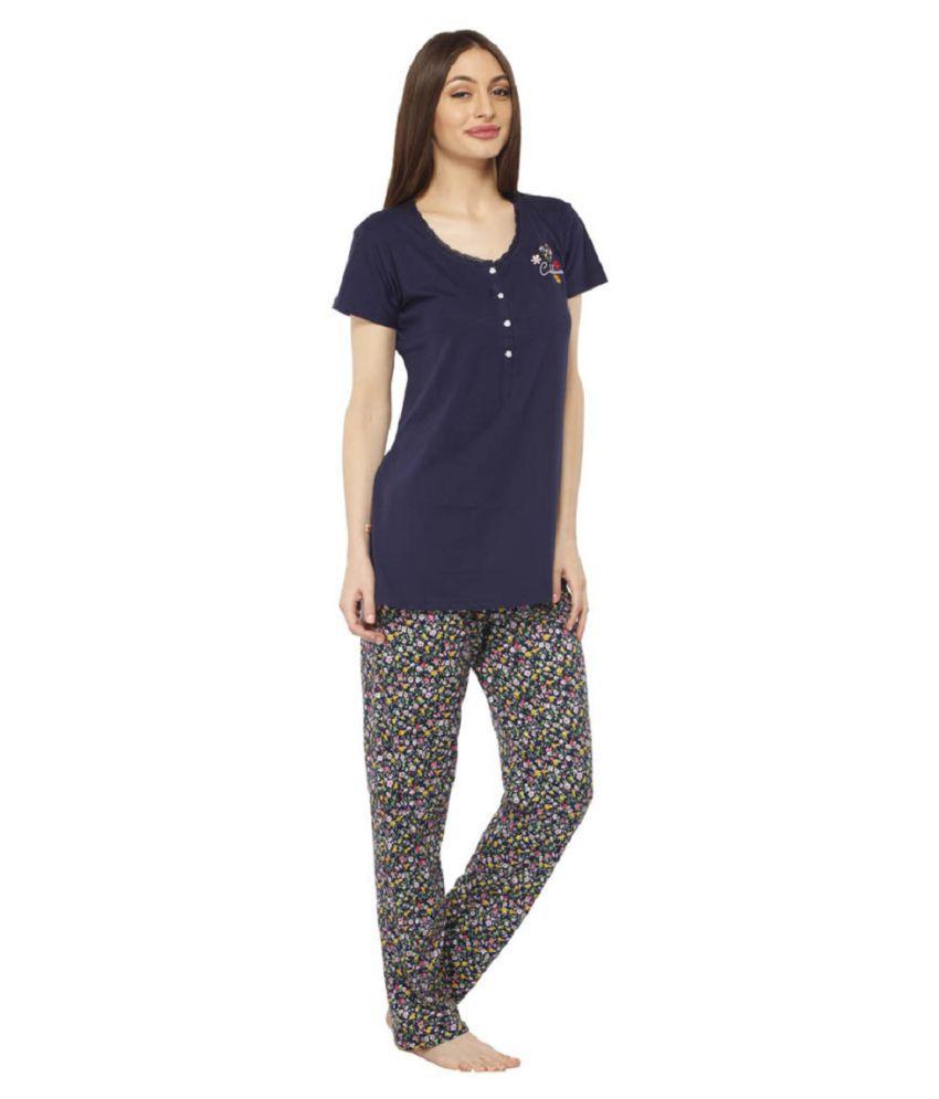 Vixenwrap Blue Cotton Nightsuit Sets