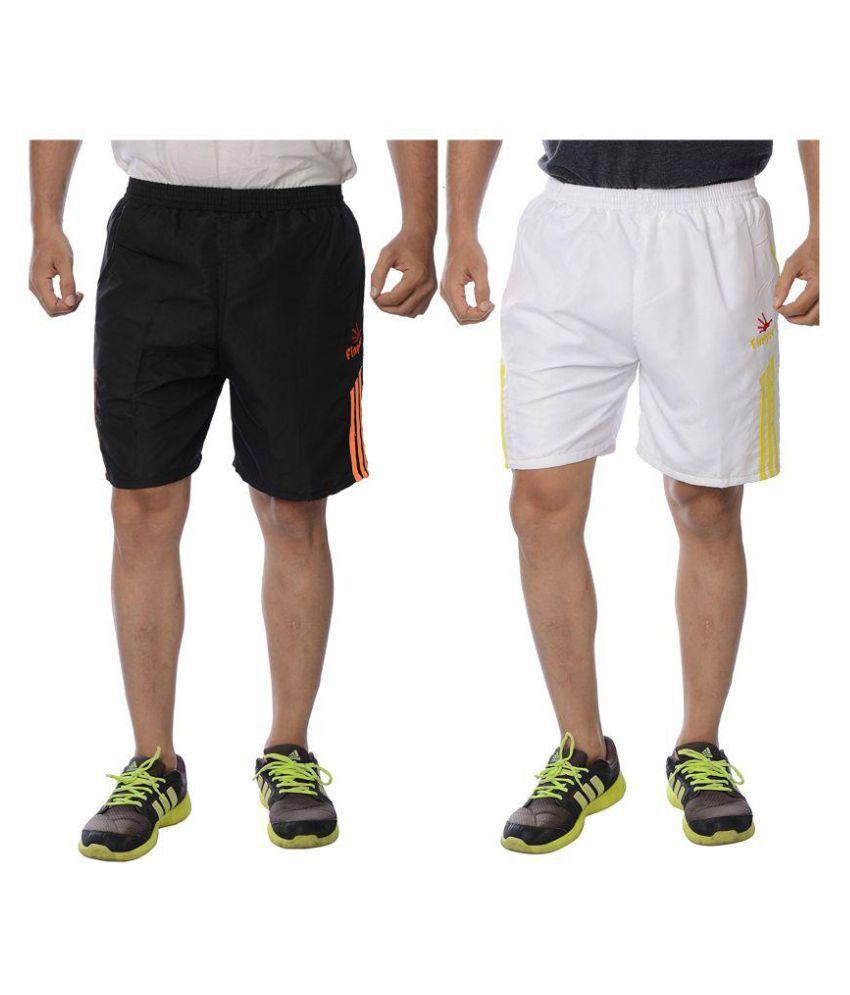 Finger's Men's Polyester Shorts Pack of 2-Black-orange & White-Yellow
