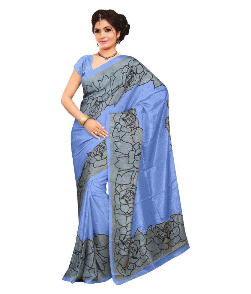 Snapshopee Blue Polyester Saree