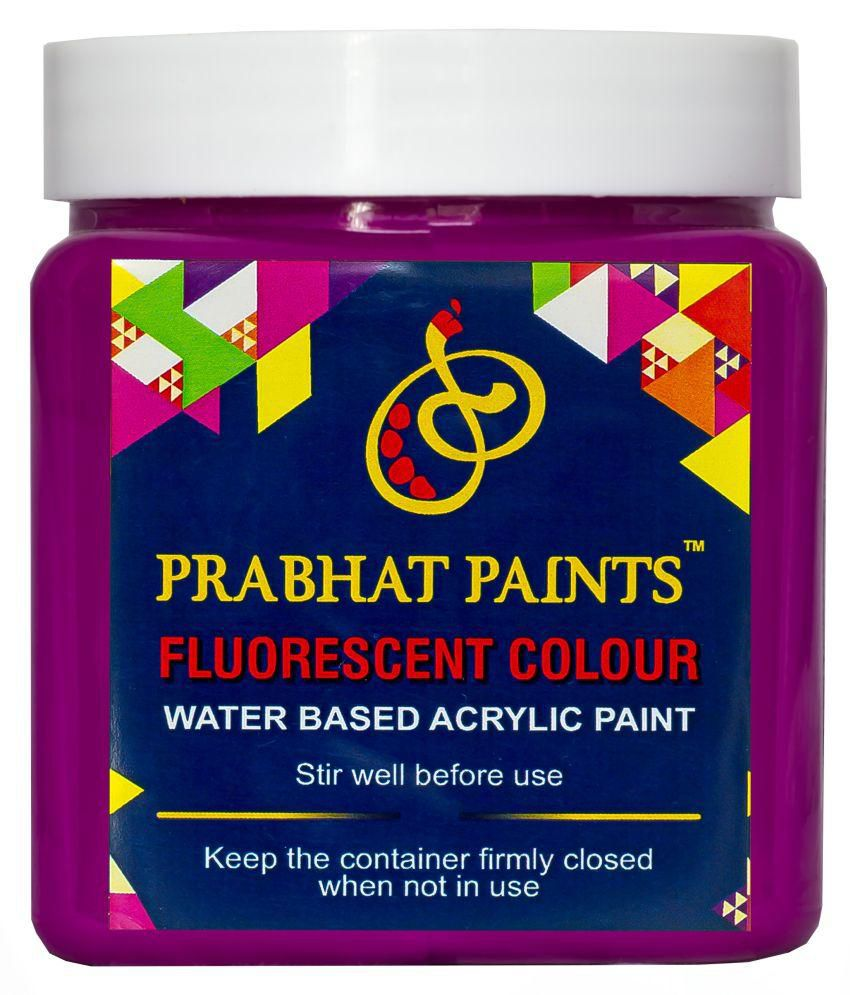 Prabhat Paint Water Based Fluorescent Matte Violet 1KG Glows in the dark only under UV Tube Light or UV Bulb