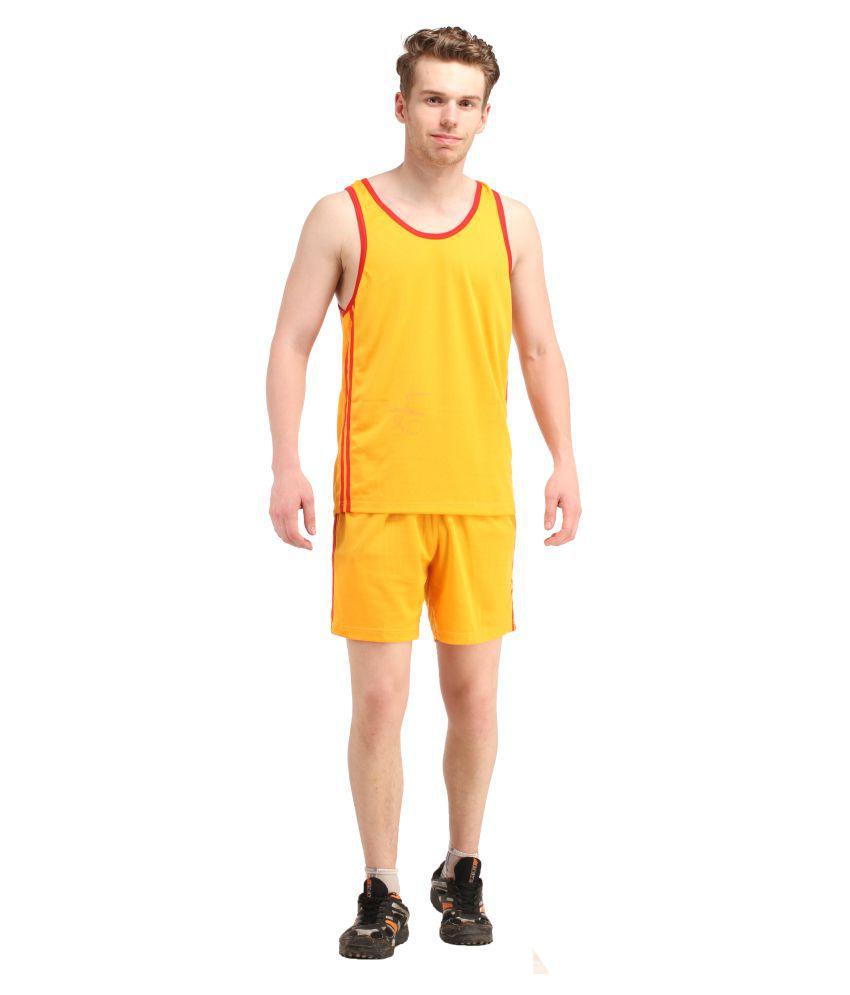 Subermuch Yellow Polyester Lycra Hockey Shorts