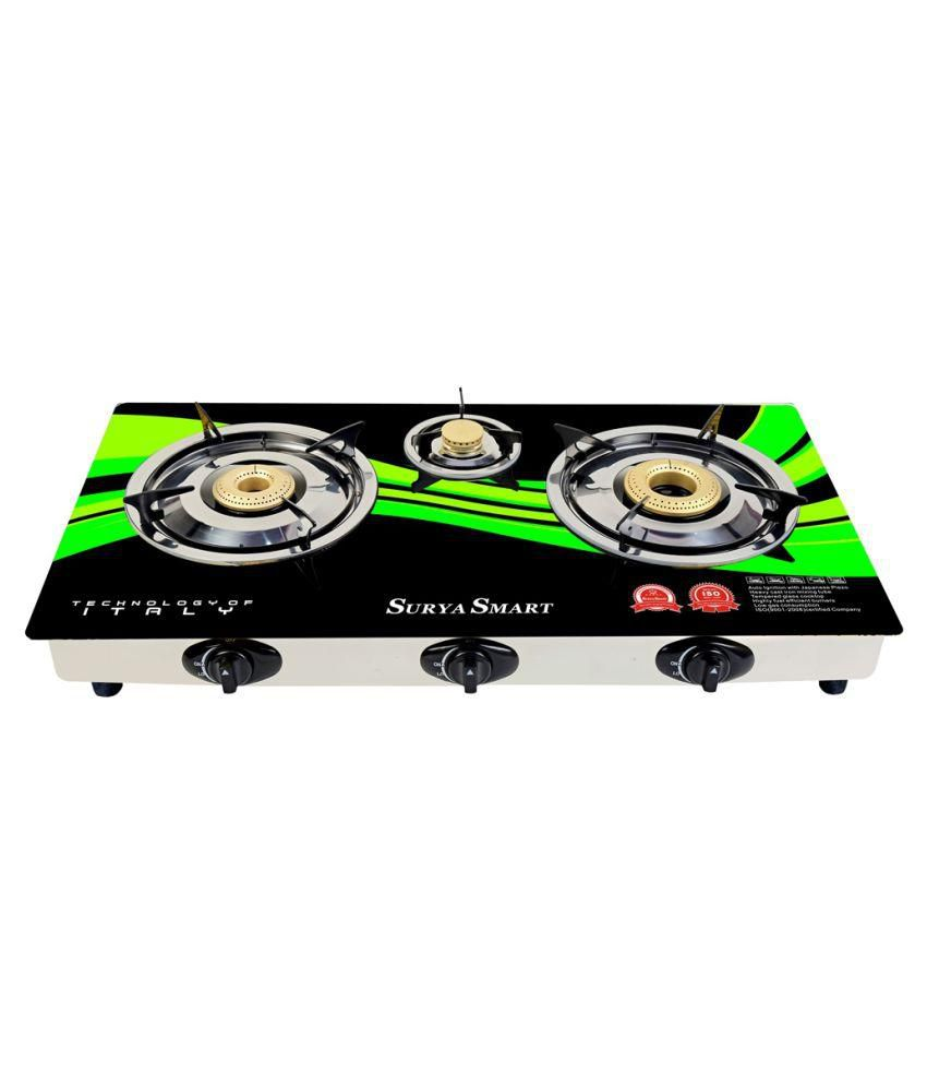Surya Smart SS202N Auto Ignition Gas Cooktop (3 Burner)