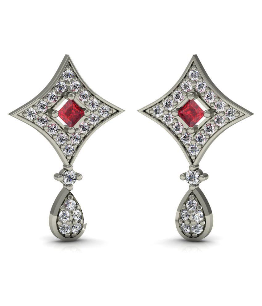 Diaonj 18k BIS Hallmarked White Gold Diamond Drop Earrings