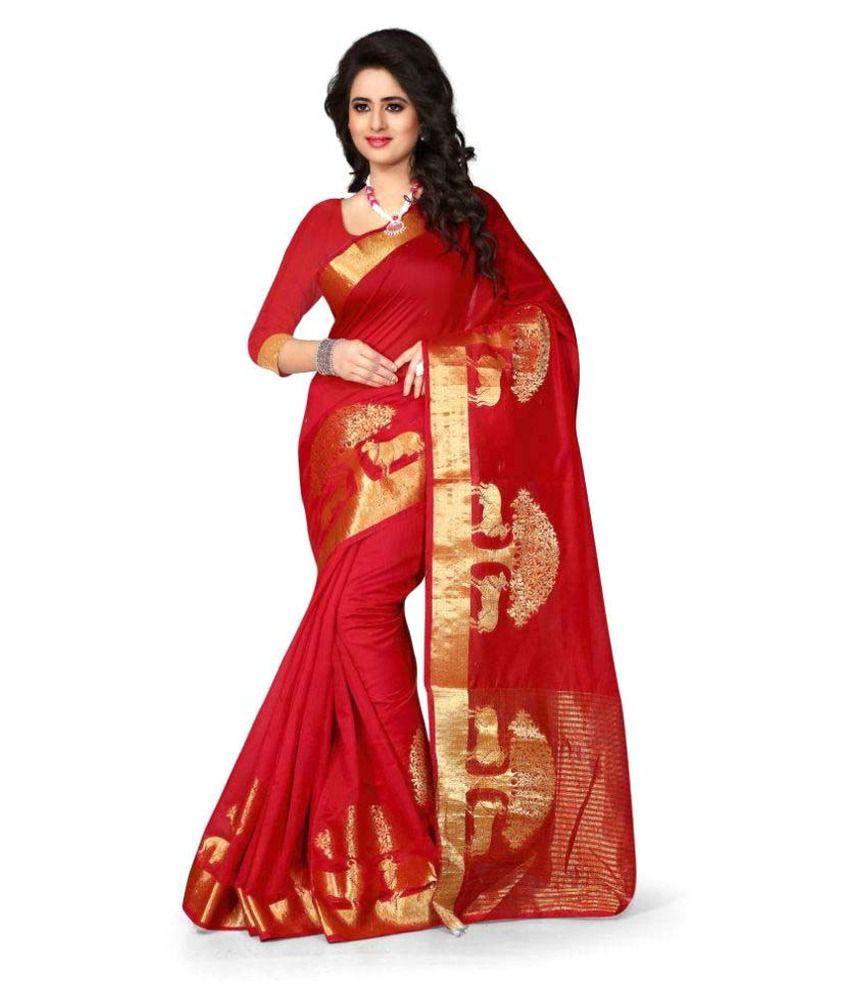 Miti Fashions Red Cotton Saree