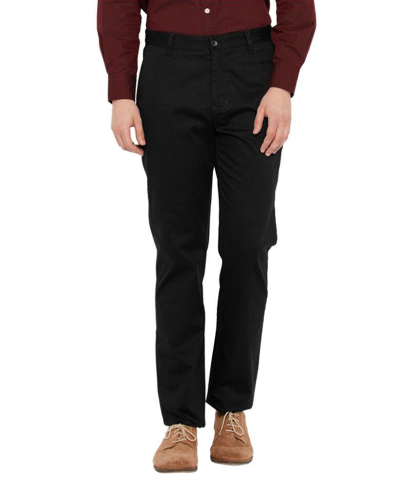 Parx Black Tapered Flat Trouser