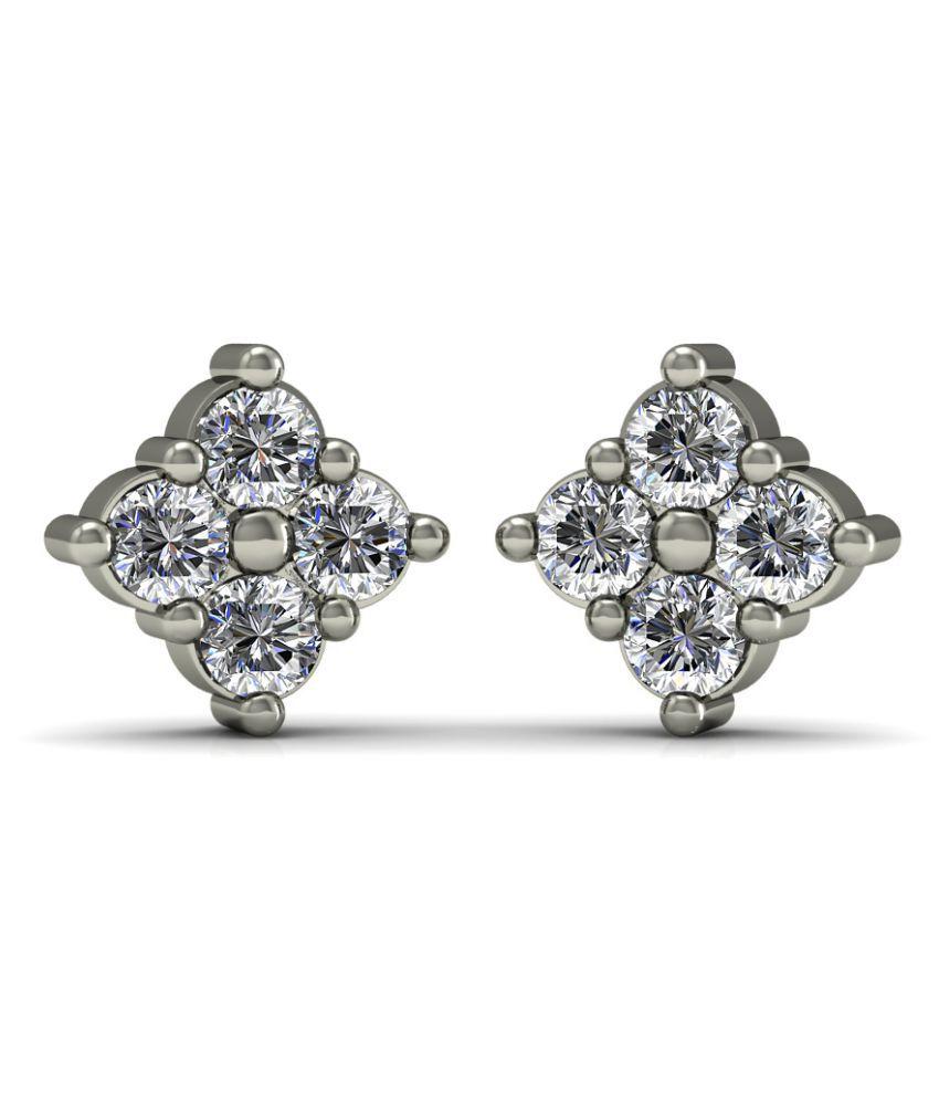 Diaonj 14k BIS Hallmarked White Gold Diamond Studs